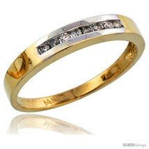 Size 8 - 14k Gold Men's Diamond Band w/ Rhodium Accent, w/ 0.14 Carat Brilliant  - $533.08