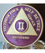 2 Year AA Medallion Purple Gold Plated Alcoholics Anonymous Sobriety Coi... - £15.75 GBP