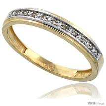 Size 12 - 14k Gold Men's Diamond Band, w/ 0.08 Carat Brilliant Cut Diamonds,  - $478.34