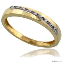 Size 14 - 14k Gold Men's Diamond Band, w/ 0.08 Carat Brilliant Cut Diamonds,  - $491.80