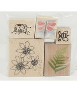 Rubber Stamp Flowers Ladybug Dragonfly Bumbull bee Fern Whatever Garden ... - $8.00
