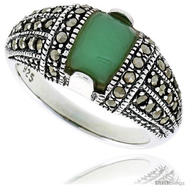 Primary image for Size 7 - Sterling Silver Oxidized Dome Ring w/ Green Resin, 3/8in  (10 mm)