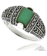 Size 7 - Sterling Silver Oxidized Dome Ring w/ Green Resin, 3/8in  (10 mm)  - $30.67