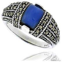 Size 7 - Sterling Silver Oxidized Dome Ring w/ Blue Resin, 3/8in  (10 mm)  - $30.67