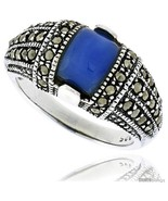 Size 8 - Sterling Silver Oxidized Dome Ring w/ Blue Resin, 3/8in  (10 mm)  - $30.67