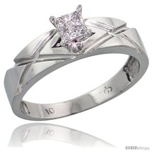 10k white gold diamond engagement ring 0 06 cttw brilliant cut 3 16 in wide thumb200