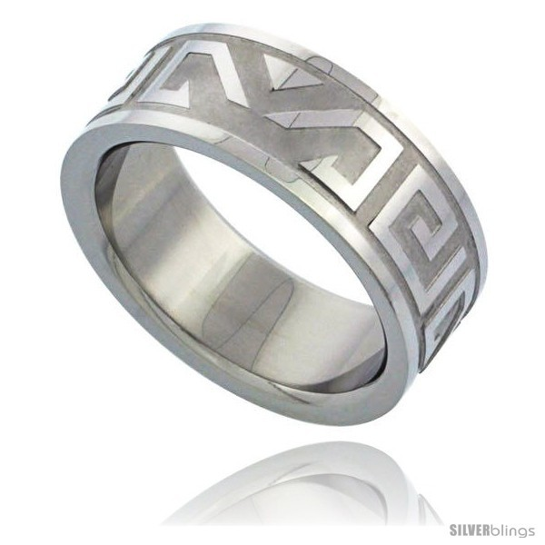Primary image for Size 9 - Surgical Steel Aztec Design Ring 8mm Wedding