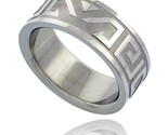 Surgical steel aztec design ring 8mm wedding band thumb155 crop