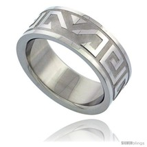 Surgical steel aztec design ring 8mm wedding band thumb200