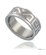 Size 9 - Surgical Steel Aztec Design Ring 8mm Wedding - $6.81
