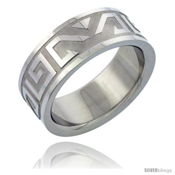 Size 9 - Surgical Steel Aztec Design Ring 8mm Wedding image 2