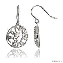 Sterling Silver Round Filigree Dangle Earrings w/ Brilliant Cut CZ Stones, 3/4in - $75.28