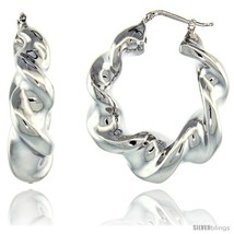 Sterling Silver Italian Puffy Hoop Earrings Twisted Design w/ White Gold  - $122.45