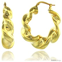 Sterling Silver Italian Puffy Hoop Earrings Twisted Design w/ Yellow Gold  - $122.45