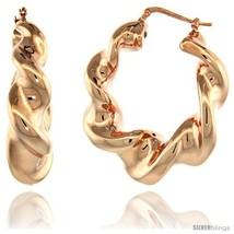 Sterling Silver Italian Puffy Hoop Earrings Twisted Design w/ Rose Gold ... - $122.45