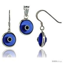 Sterling Silver Translucent Blue Color Evil Eye Pendant & Earrings Set -Style  - $17.65