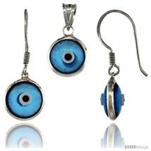 Sterling Silver Translucent Blue Color Evil Eye Pendant & Earrings  - $17.65