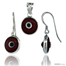 Sterling Silver Red Color Evil Eye Pendant & Earrings Set -Style  - $17.65