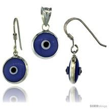 Sterling Silver Blue-Violet Color Evil Eye Pendant & Earrings  - $17.65