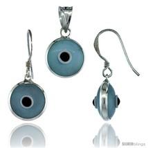 Sterling Silver Light Blue Color Evil Eye Pendant & Earrings  - $17.65