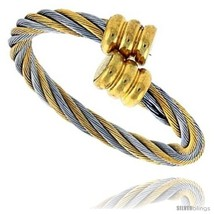 Surgical Steel Cable Ring 2.5 mm 2-tone Fits all sizes 8 thru  - £18.95 GBP
