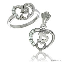 Sterling silver quinceanera 15 anos heart ring pendant set cz stones rhodium finished thumb200