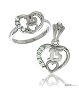 Size 6 - Sterling Silver Quinceanera 15 ANOS Heart Ring & Pendant Set CZ... - $69.50