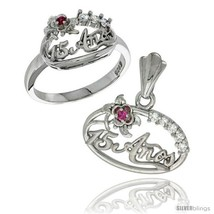 Size 5 - Sterling Silver Quinceanera 15 ANOS Flower Ring & Pendant Set CZ  - $70.78