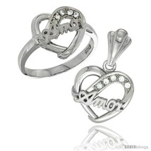 Size 5 - Sterling Silver AMOR Heart Ring & Pendant Set CZ Stones Rhodium  - $74.73