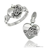 Size 6 - Sterling Silver Quinceanera 15 ANOS Heart Ring & Pendant Set CZ... - $66.82