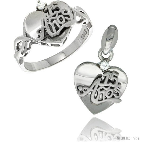 Rling silver quinceanera 15 anos heart ring pendant set cz stones rhodium finished style rpzh113