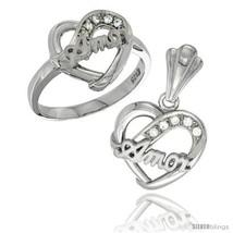Size 8 - Sterling Silver AMOR Heart Ring & Pendant Set CZ Stones Rhodium  - $74.73