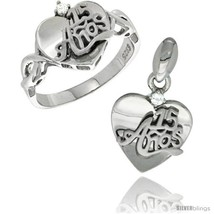Size 5 - Sterling Silver Quinceanera 15 ANOS Heart Ring & Pendant Set CZ Stones  - $66.82