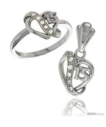 Size 6 - Sterling Silver Quinceanera 15 ANOS Heart Ring & Pendant Set CZ... - $51.16