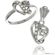 Ver quinceanera 15 anos heart ring pendant set cz stones rhodium finished style rpzh114 thumb200