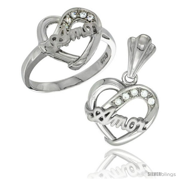 Primary image for Size 6 - Sterling Silver AMOR Heart Ring & Pendant Set CZ Stones Rhodium