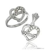 Size 6 - Sterling Silver AMOR Heart Ring & Pendant Set CZ Stones Rhodium  - $74.73