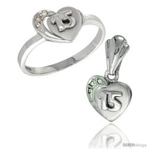 Ver quinceanera 15 anos heart ring pendant set cz stones rhodium finished style rpzh115 thumb200