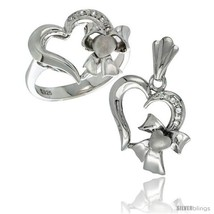 Size 5 - Sterling Silver Heart w/ Bow Heart Ring & Pendant Set CZ Stones  - $67.50