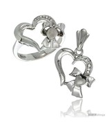 Size 6 - Sterling Silver Heart w/ Bow Heart Ring & Pendant Set CZ Stones  - $81.30