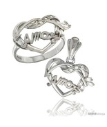 Size 6 - Sterling Silver AMOR w/ Cupid's Bow Ring & Pendant Set CZ Stones  - $83.86