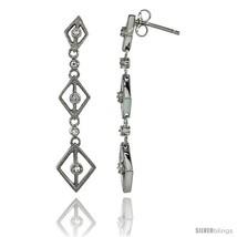 Sterling Silver Diamond Shape Cut Outs Journey Dangle Earrings w/ Brilliant Cut  - $43.87