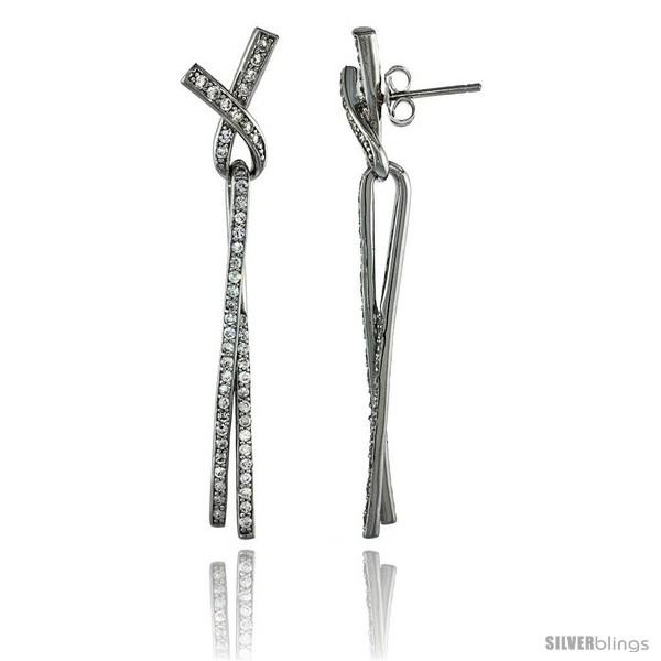 Sterling Silver Ribbon Knot Lace Dangle Earrings w/ Brilliant Cut CZ Stones, 2  - $76.20