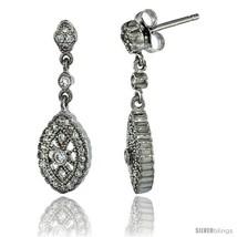 Sterling Silver Marquise Shape Dangle Earrings w/ Brilliant Cut CZ Stones, 1  - $42.98