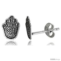 Tiny Sterling Silver Hand Stud Earrings 5/16  - $13.00