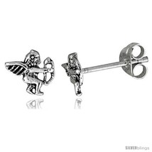 Tiny Sterling Silver Cupid Stud Earrings 5/16  - $15.07