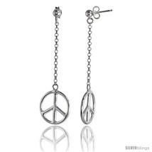 Sterling Silver Peace Drop Earrings, 2 3/8 in  - $44.56