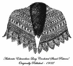 1902 Art Nouveau Titanic WWI Gibson Girl Girls Round Shawl Crochet Patte... - $4.99