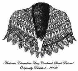 1902 Art Nouveau Titanic WWI Gibson Girl Girls Round Shawl Crochet Pattern DIY 2