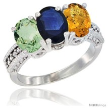 Size 8.5 - 14K White Gold Natural Green Amethyst, Blue Sapphire & Whisky... - £593.73 GBP